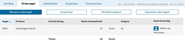 E-CertNL tabblad Orderregel-CSV