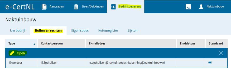 e-Cert bedrijfsgegevens